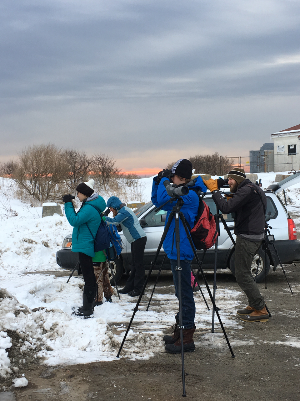 Beginning our day of birding at Dyer Point.  Photo by Robyn Ostrander
