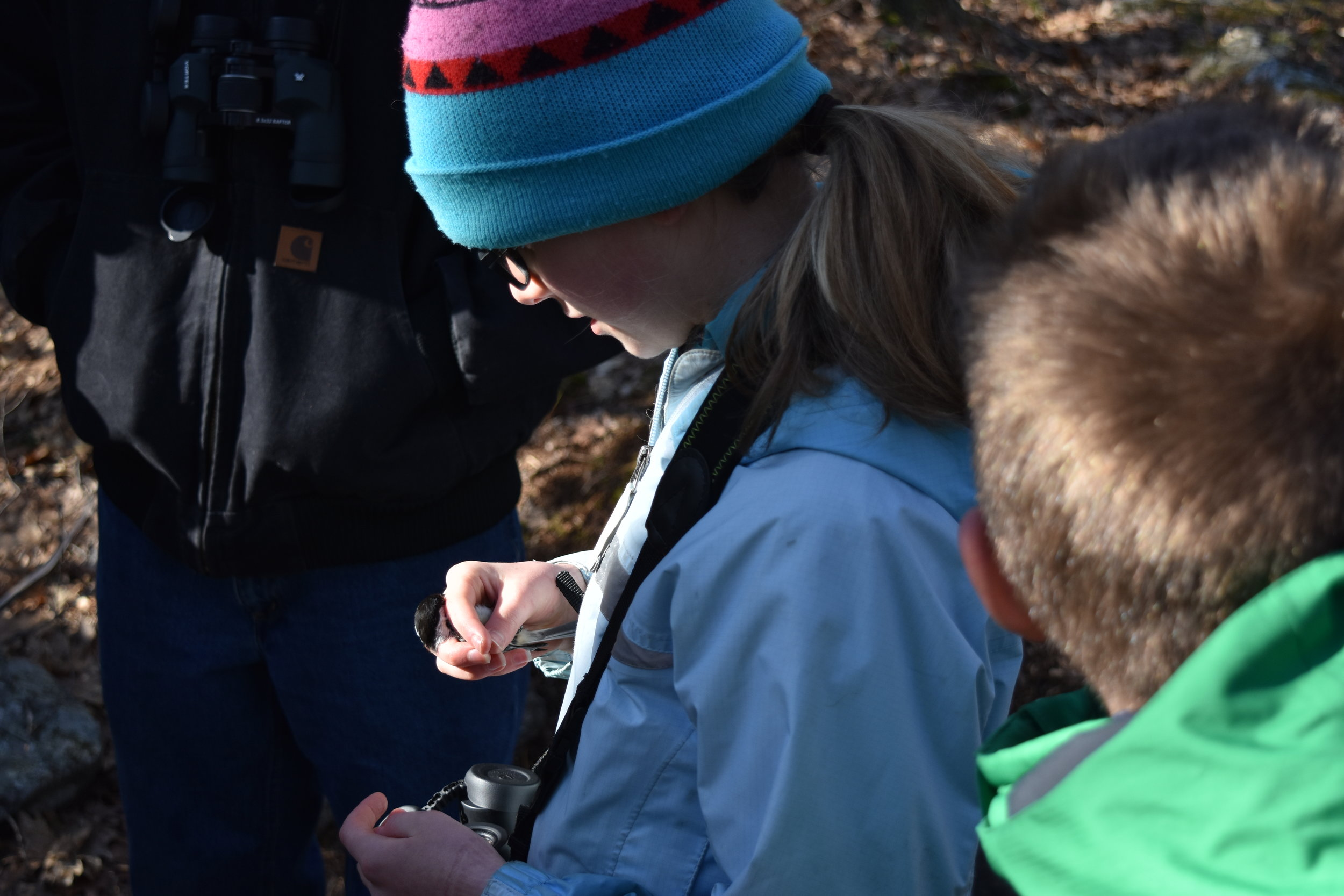 For her hard work, she got to hold and release this chickadee