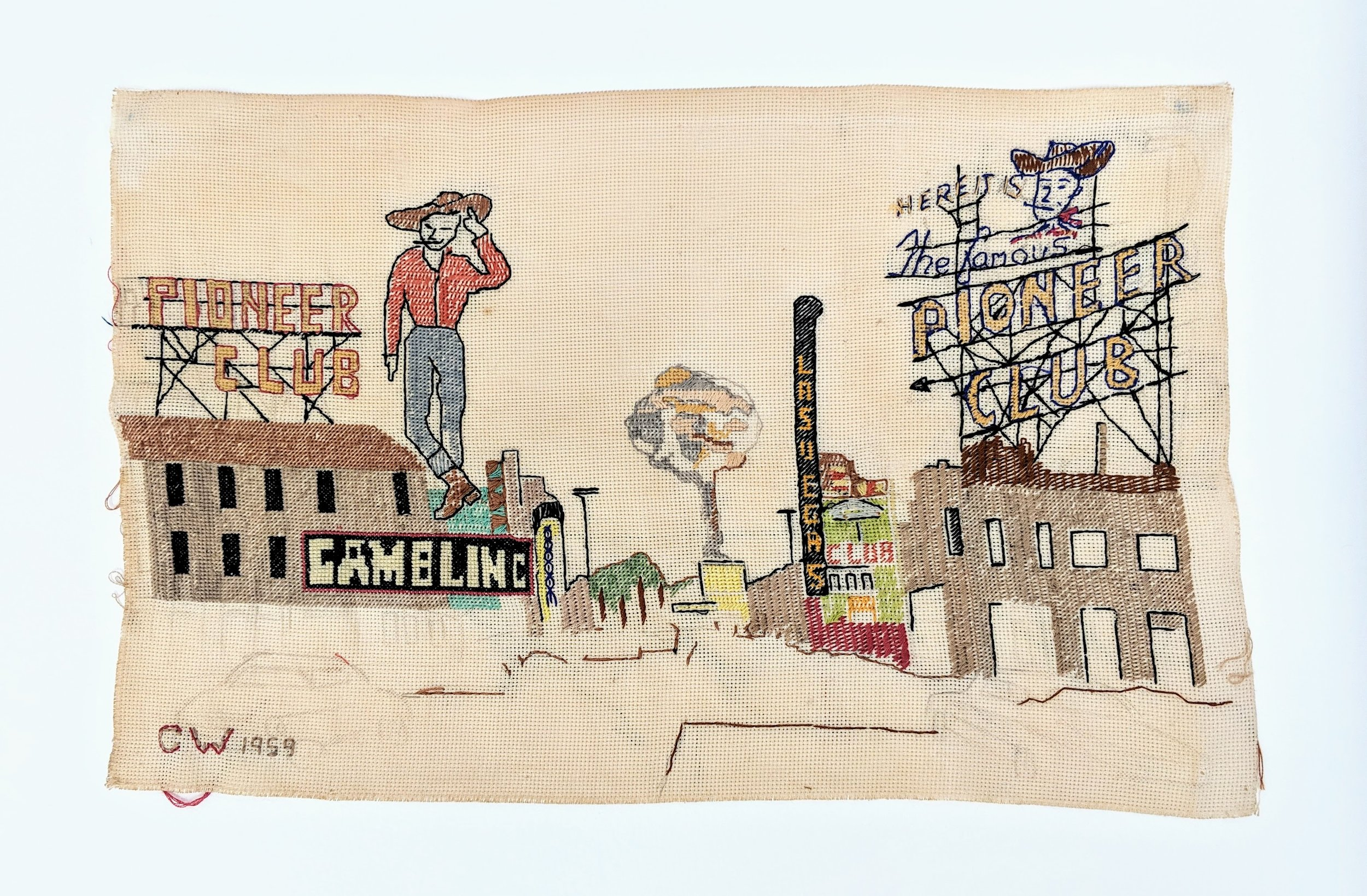 Cross-stitch ,  1959, 26 x 42cm Attributed to Carol Dorothy White of Spring Valley, Nevada