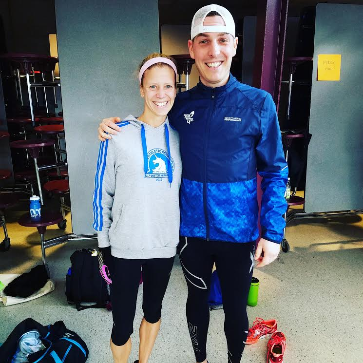 Dave with athlete, Carrie Page, pre race.