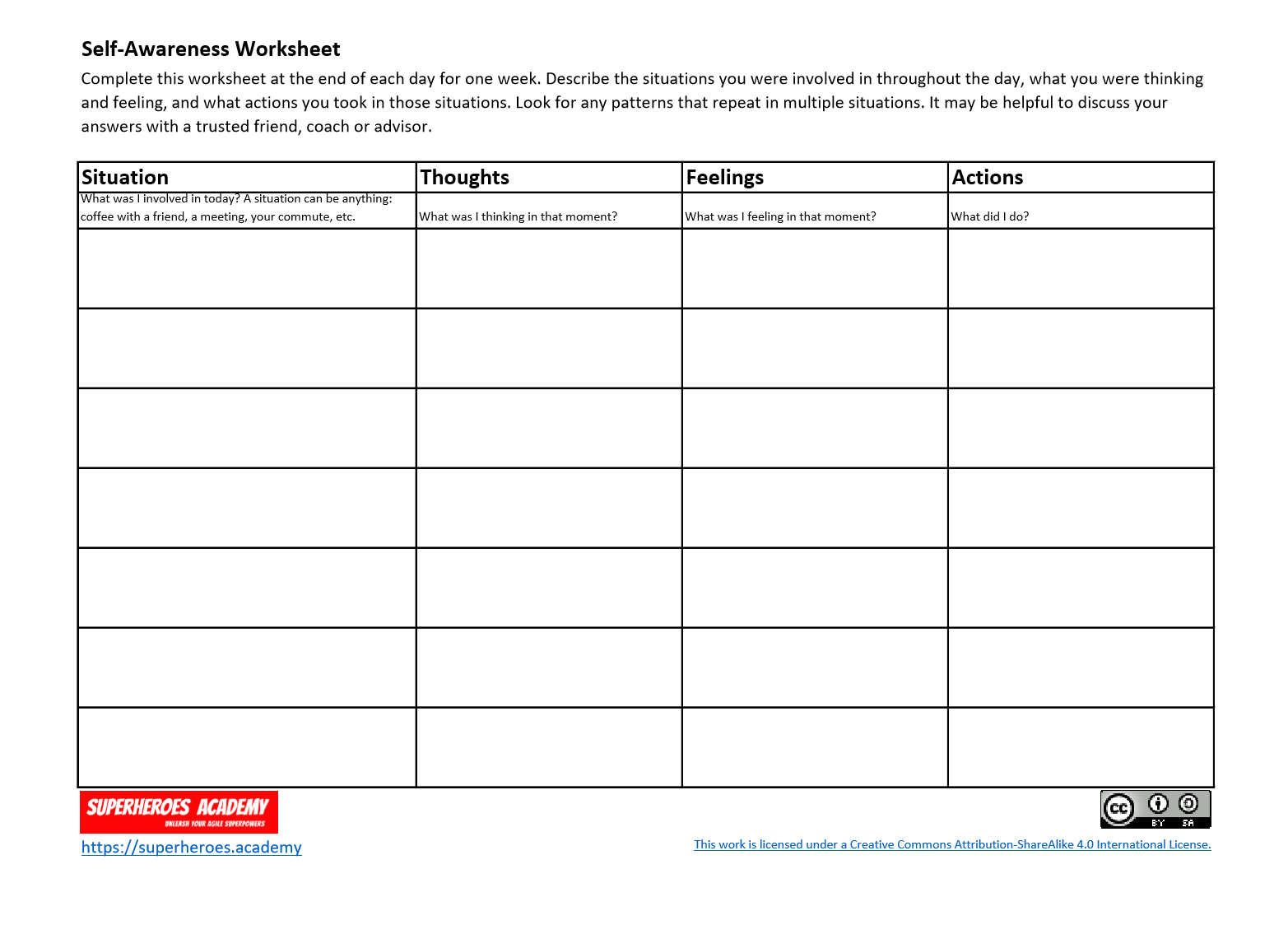Click here to download the Self-Awareness Worksheet.