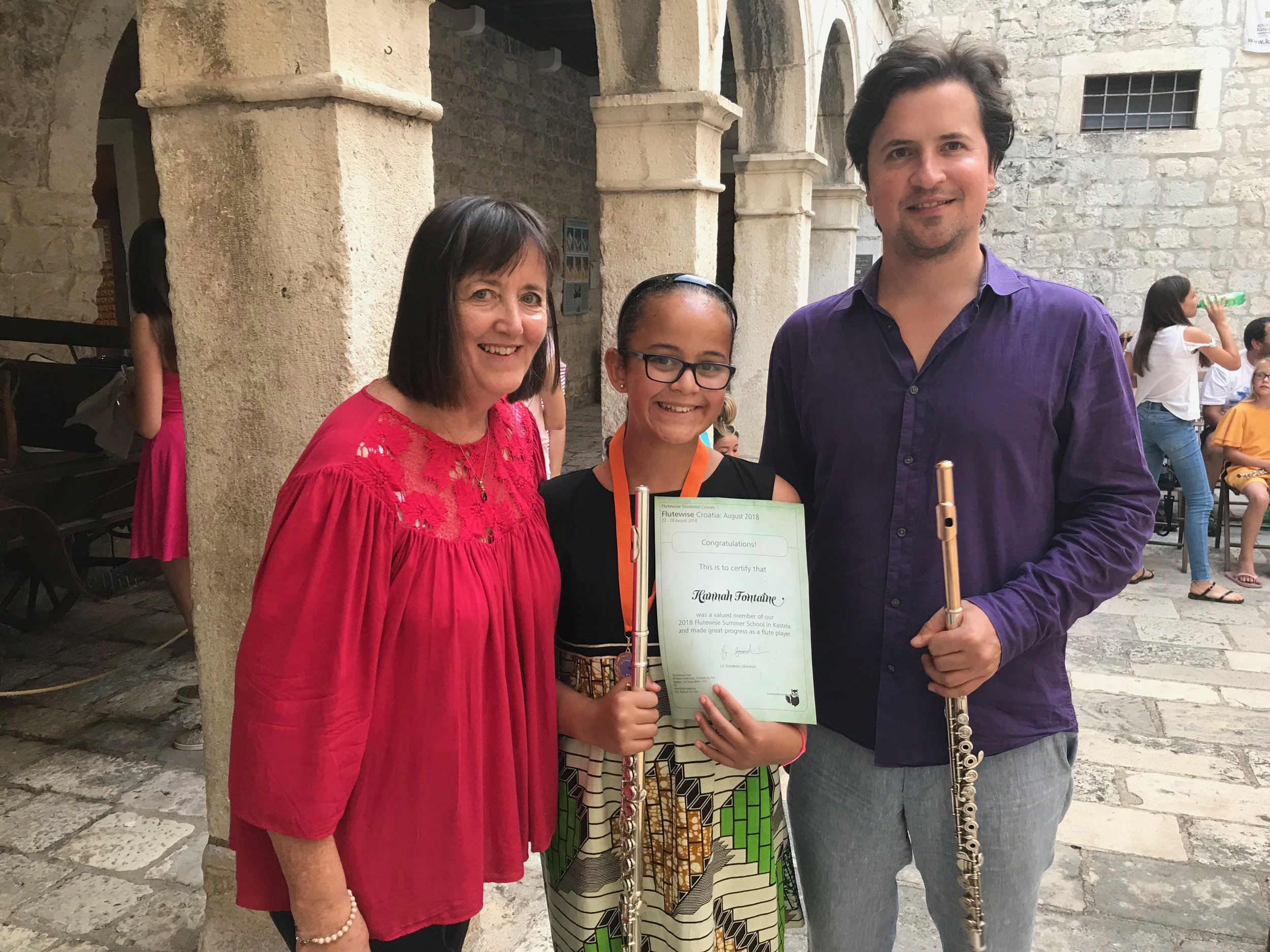 Marko Zupan with Liz and Hannah at our concert in Kastel Vitturi, Croatia, August 2018