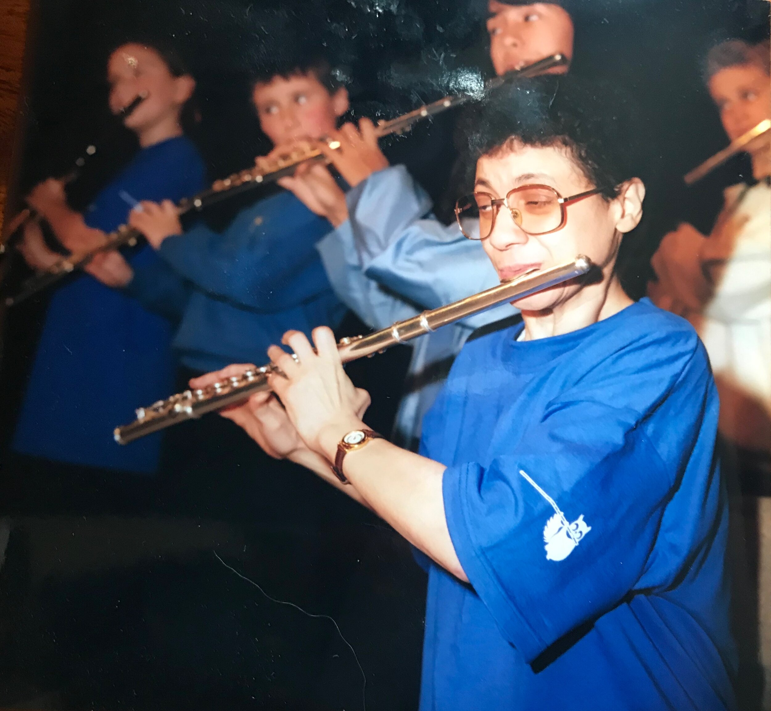 Carla in 1999, Sir James Galway's 60th birthday event with Flutewise