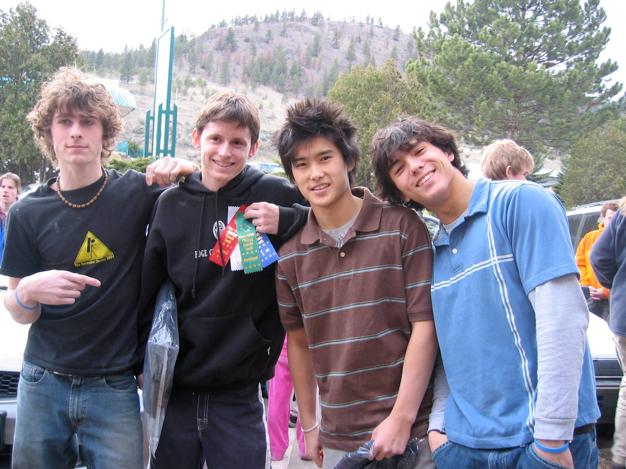 Matt Johnson (Bloc Shop Coach), Simon Parton (2017 Nationals Chief Routesetter), JJ Mah (2017 Nationals runner-up), and Sean McColl (2017 Nationals champion), back in the bad old days. Photo from JJ Mah