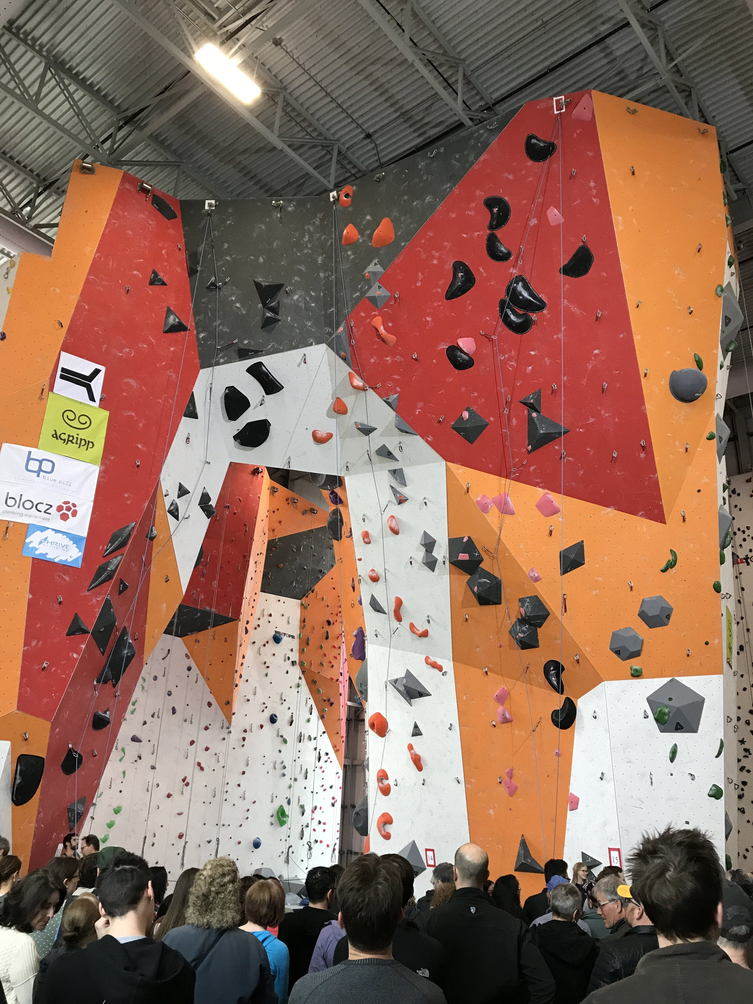 Canadian Difficulty Nationals 2017 Finals at Canyon Escalade. Black at left for B Boys/Girls, orange/gray at centre-left for A/JR/Open Women, pink/black at centre-right for A/JR/Open Men, green/gray at right for C Boys/Girls.