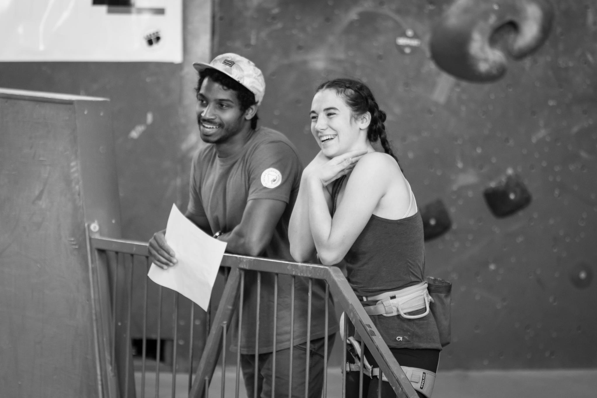 Shaun with athlete Dana Monteith at the Canadian youth training camp at Allez Up, in Montreal. Photo: Matt Chapman