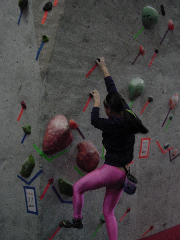 "Kaleb's ""one good problem"" at True North Climbing's 2012 Tour de Bloc event (green tape) Photo courtesy of Walnuts Climbing Centre."