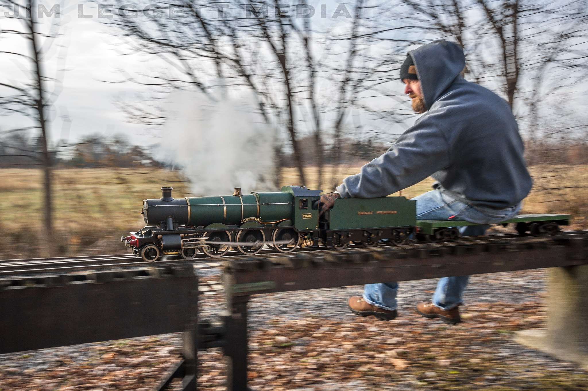 Jeremy at full steam about a model steam locomotive. Photo courtesy of Jim Leggett