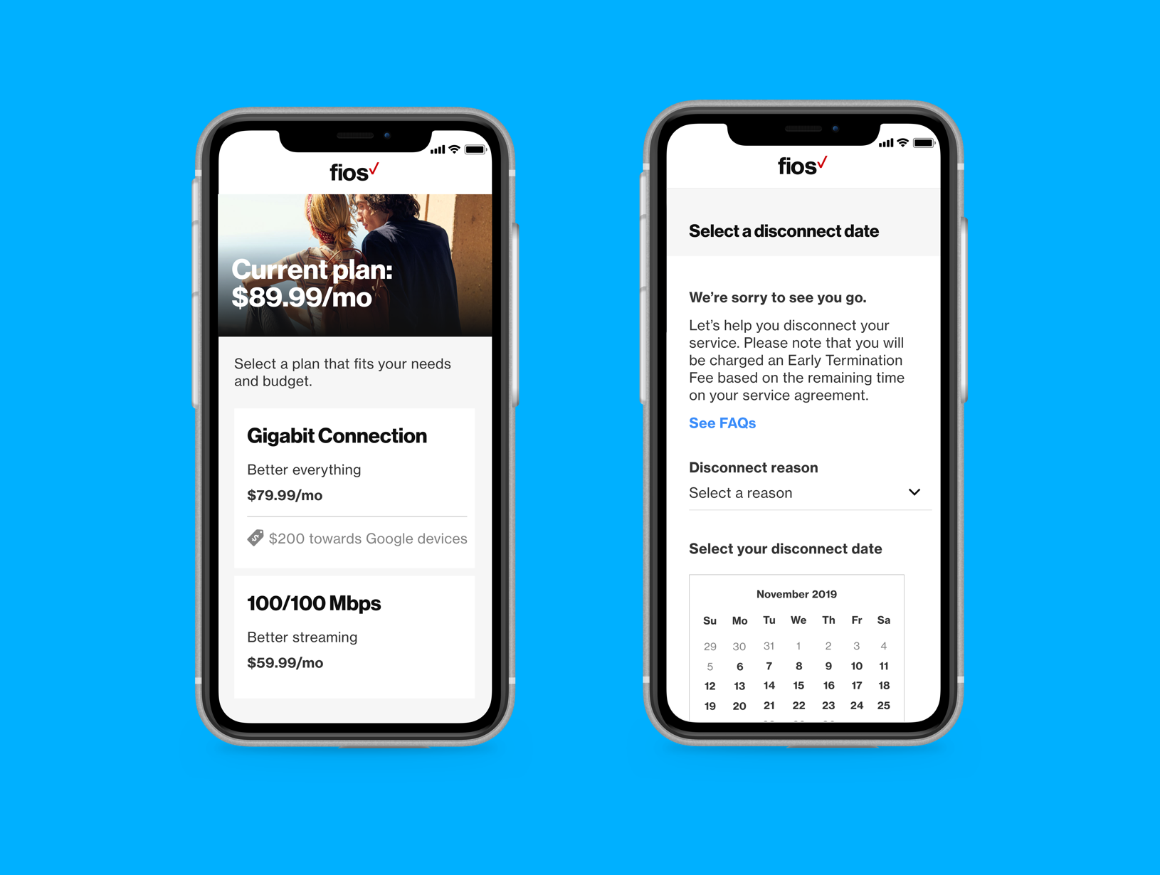 Verizon Fios | Disconnect Flow - Making it easier for customers to disconnect their services.Mobile Responsive