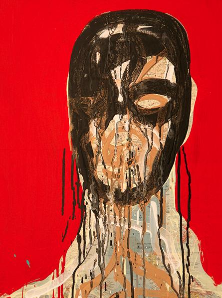 "Michael De Feo,  Self Portrait  , 2008, 20"" x 16"", acrylic and maps on board"