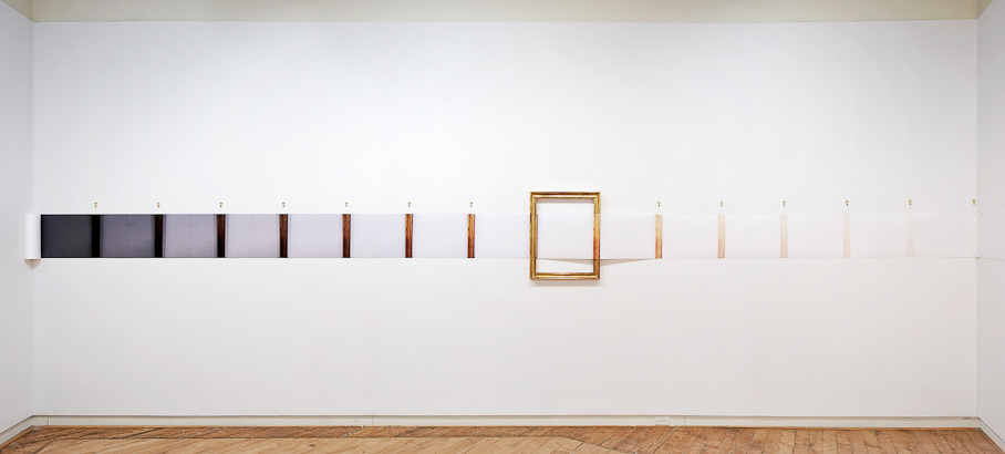 Nicholas Knight, Exposure Stack Horizontal,  2008, archival pigment print on roll paper, found frame, hanging hardware, pencil on wall; size determined by length of wall