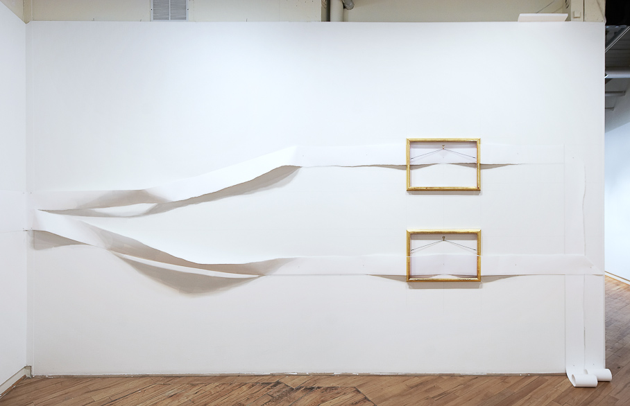 Nicholas Knight, Double Frame/Torn Photo #2 , 2008, torn photograph on roll paper, frames, hanging hardware, nails, and pencil on wall; size determined by installation