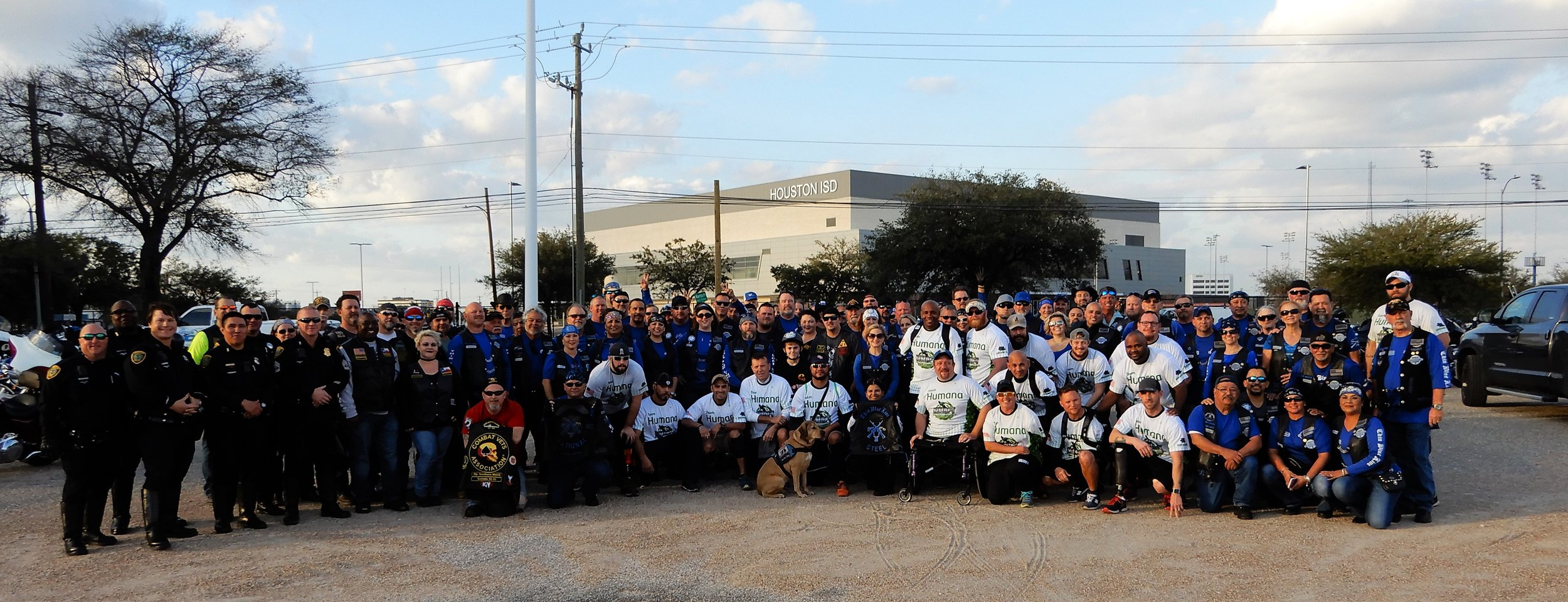 Houston PD, Combat Veterans Motorcycle Association, Wounded Warriors and Thin blue Line LE MC.