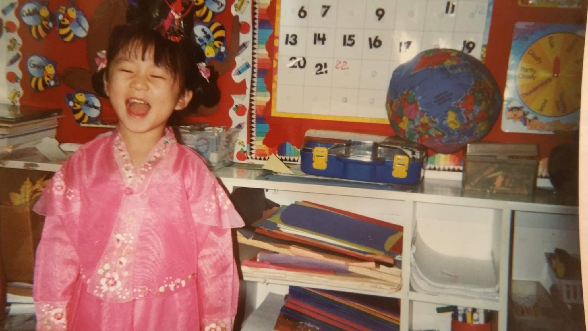 Yuni wearing a hanbok to class.