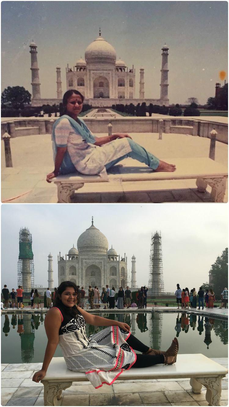 Top: Diksha's mom at the Taj Mahal in her twenties. Bottom: Diksha at the Taj Mahal in the same spot.