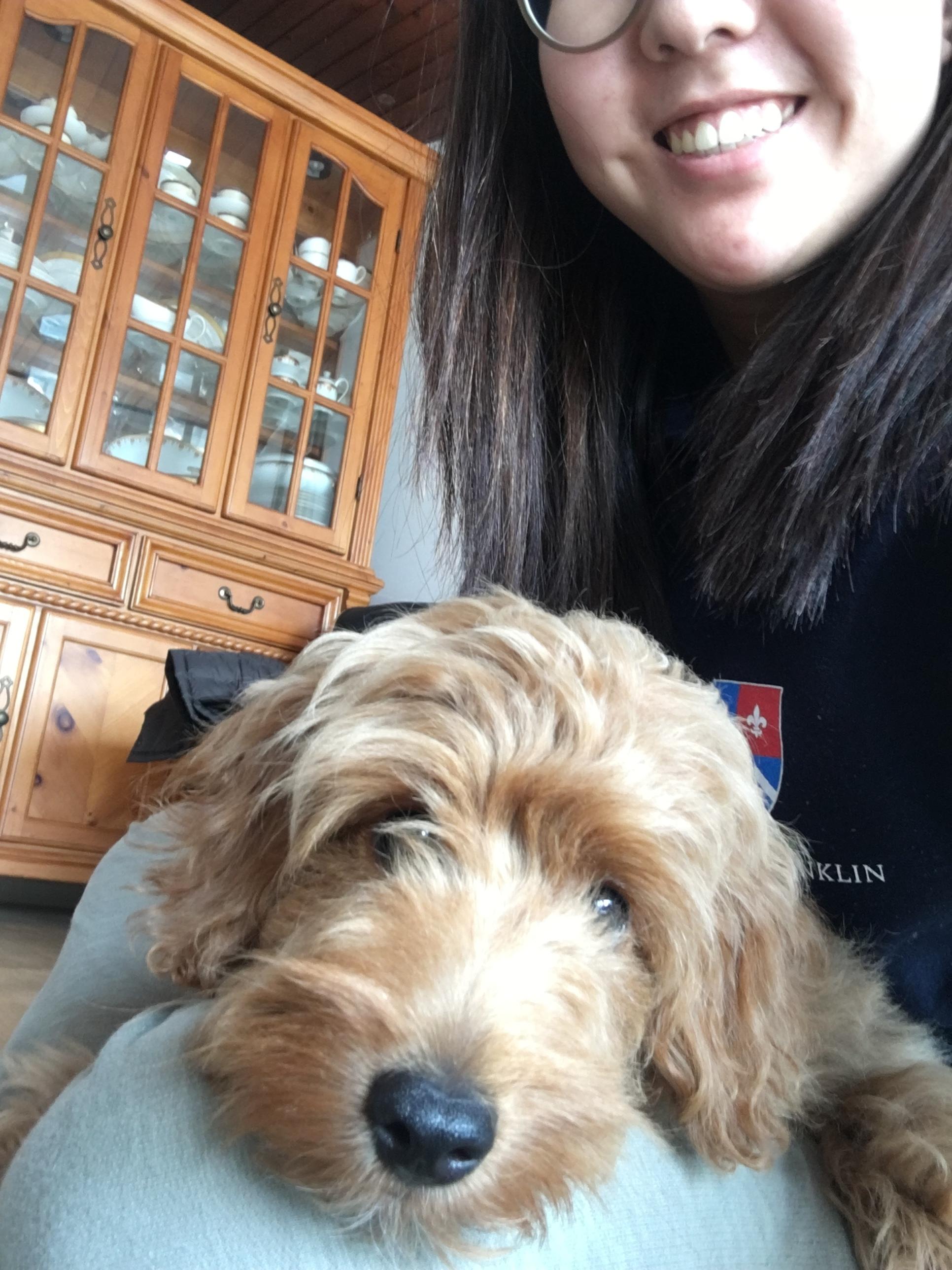 Jiyoung and her dog, Guma.