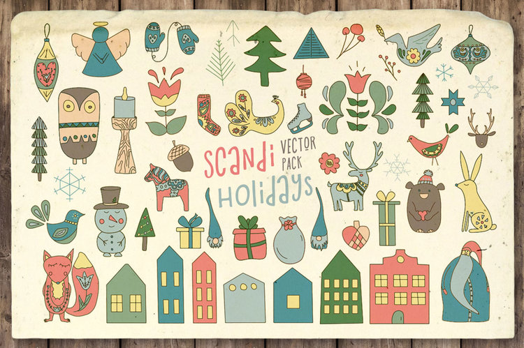Scandi Holidays Vector Pack
