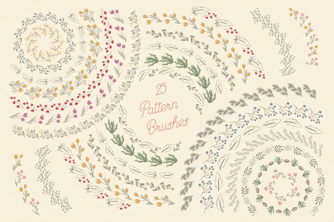 Creative Veila Floral Pattern Illustrator Brushes