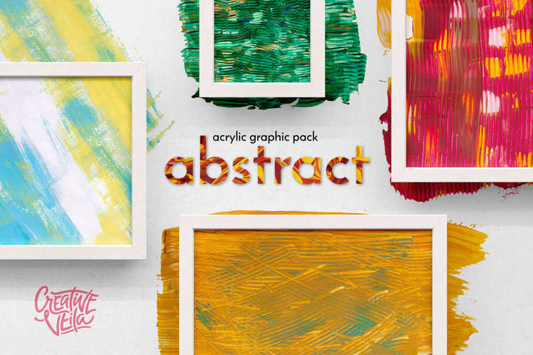 Abstract Acrylic Graphic Pack - Acrylic graphics pack including vivid textures, colorful splashes, and of vector shapes.