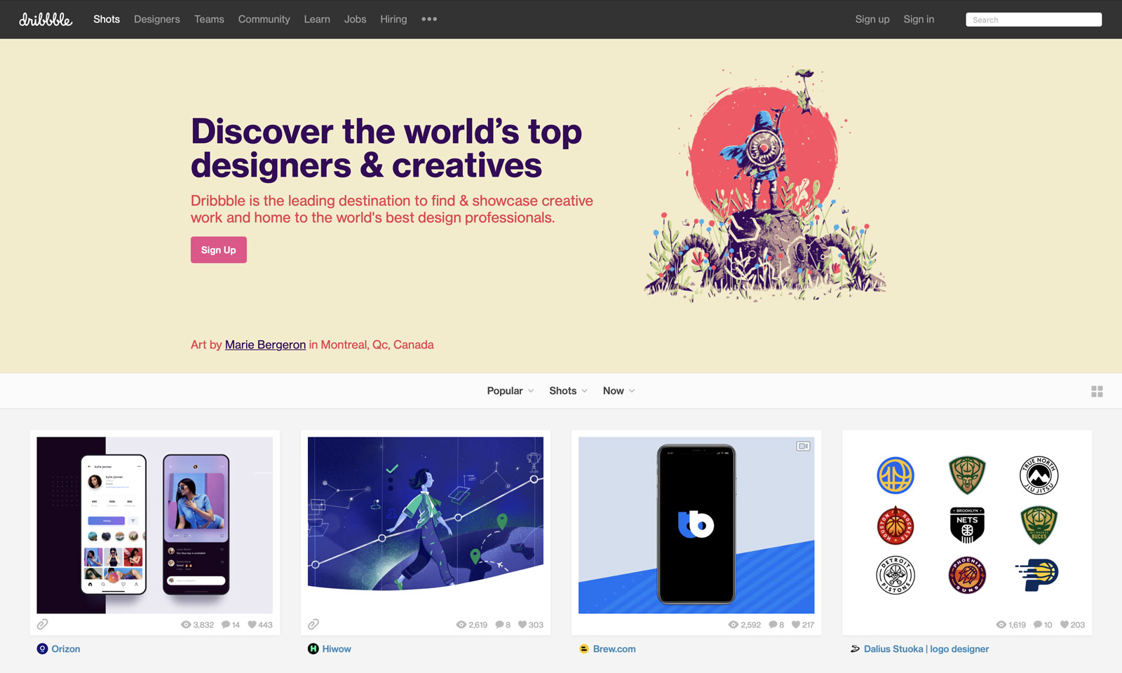 Dribbble's Popular section is always a good place to start your research.