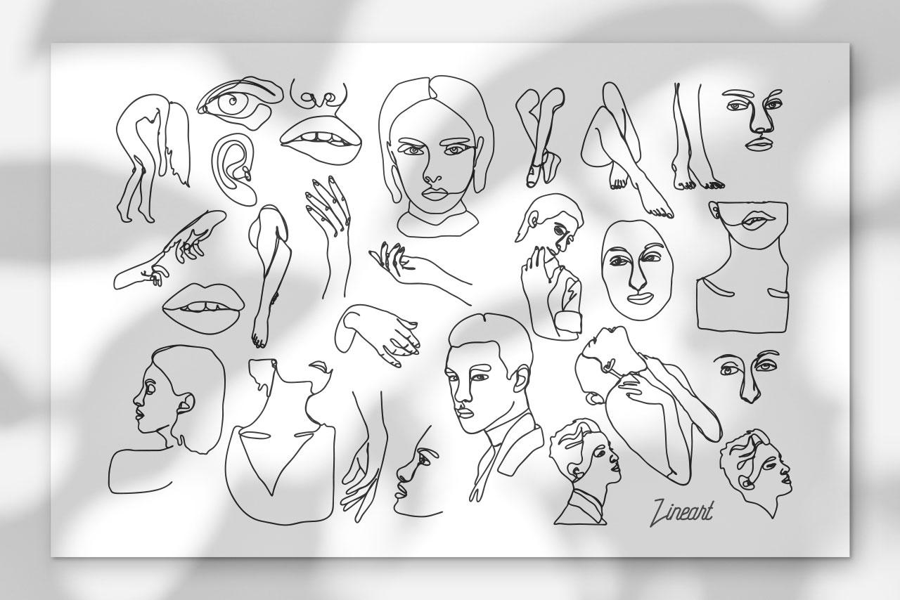 Line art Abstract Vector Illustrations
