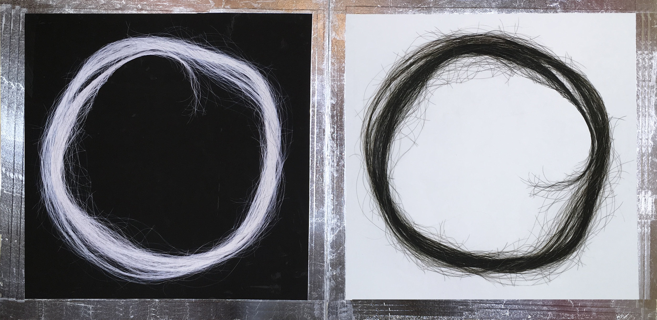 "Hair Enso by Masako Takahashi  folding scroll, 24"" x 48"""