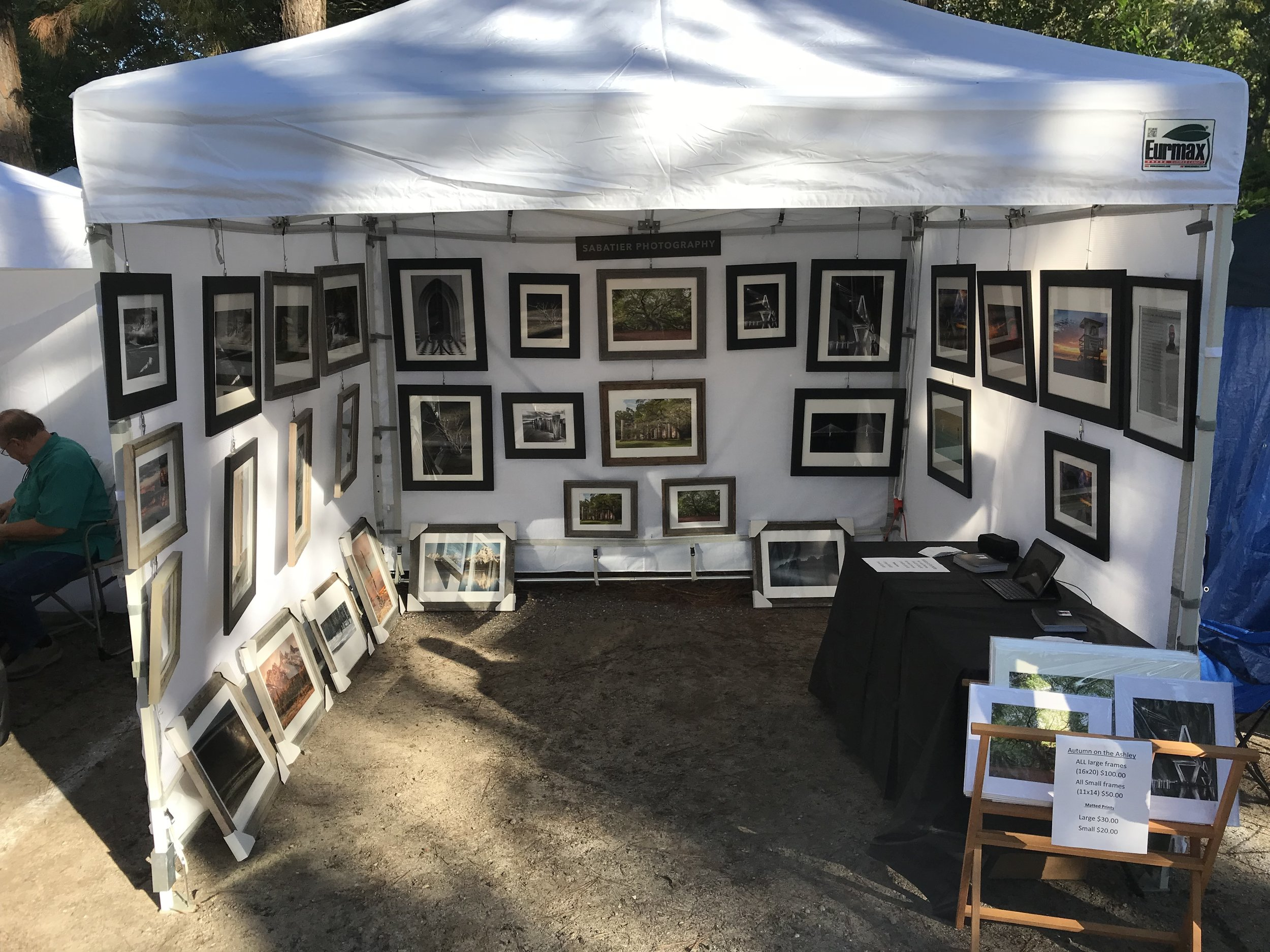 Here's the tent and walls set up along with the art work hung up. Man, is that a lot of art or what?