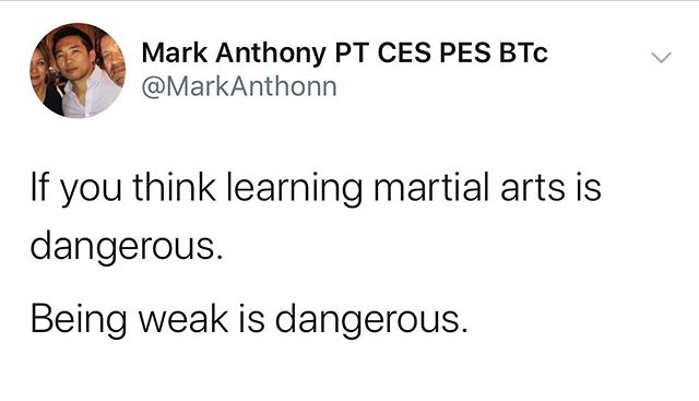 The consequences of not learning martial arts are significantly more dangerous than the process of learning it