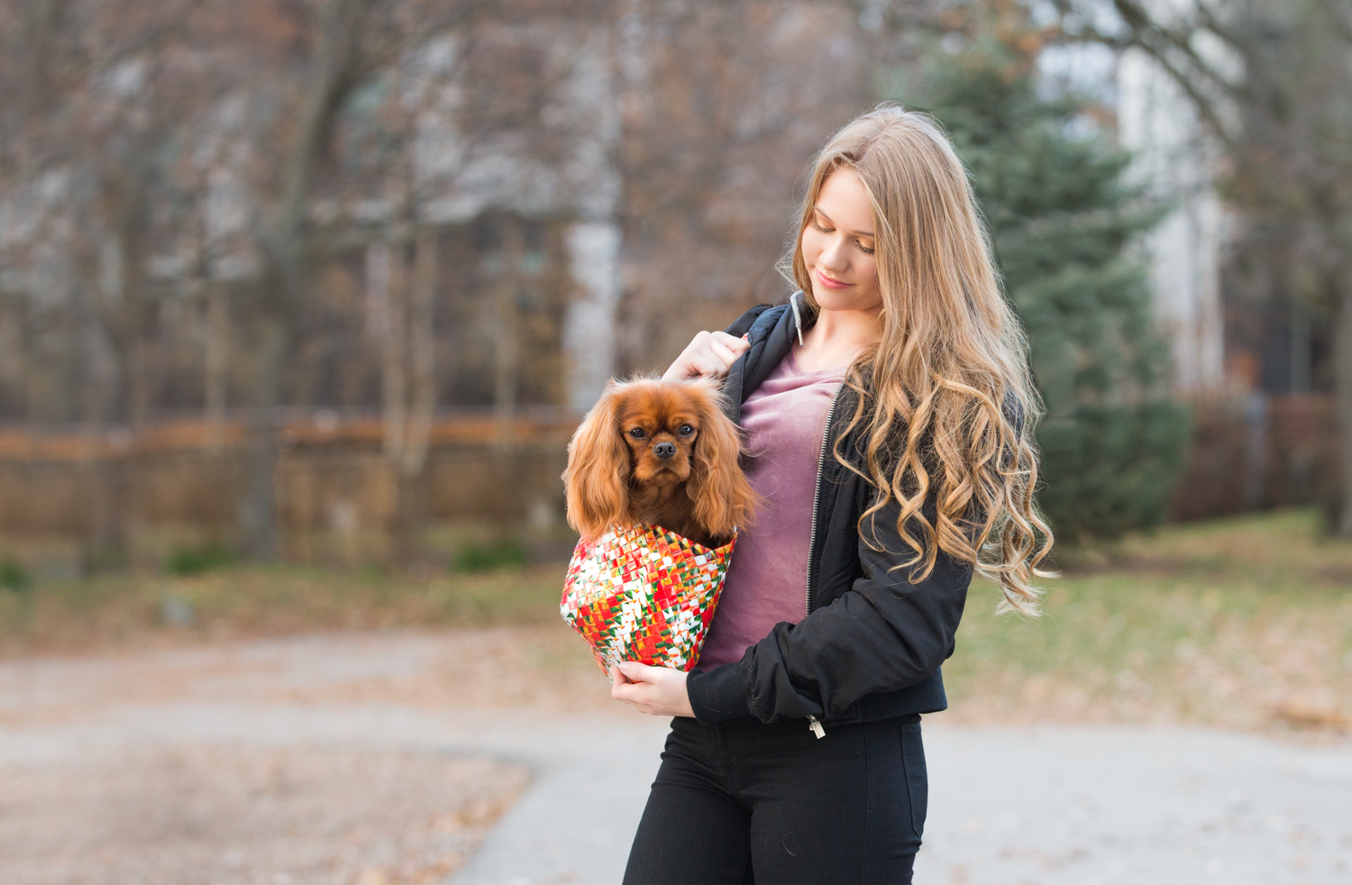 Girl carrying her dog in a pet bag