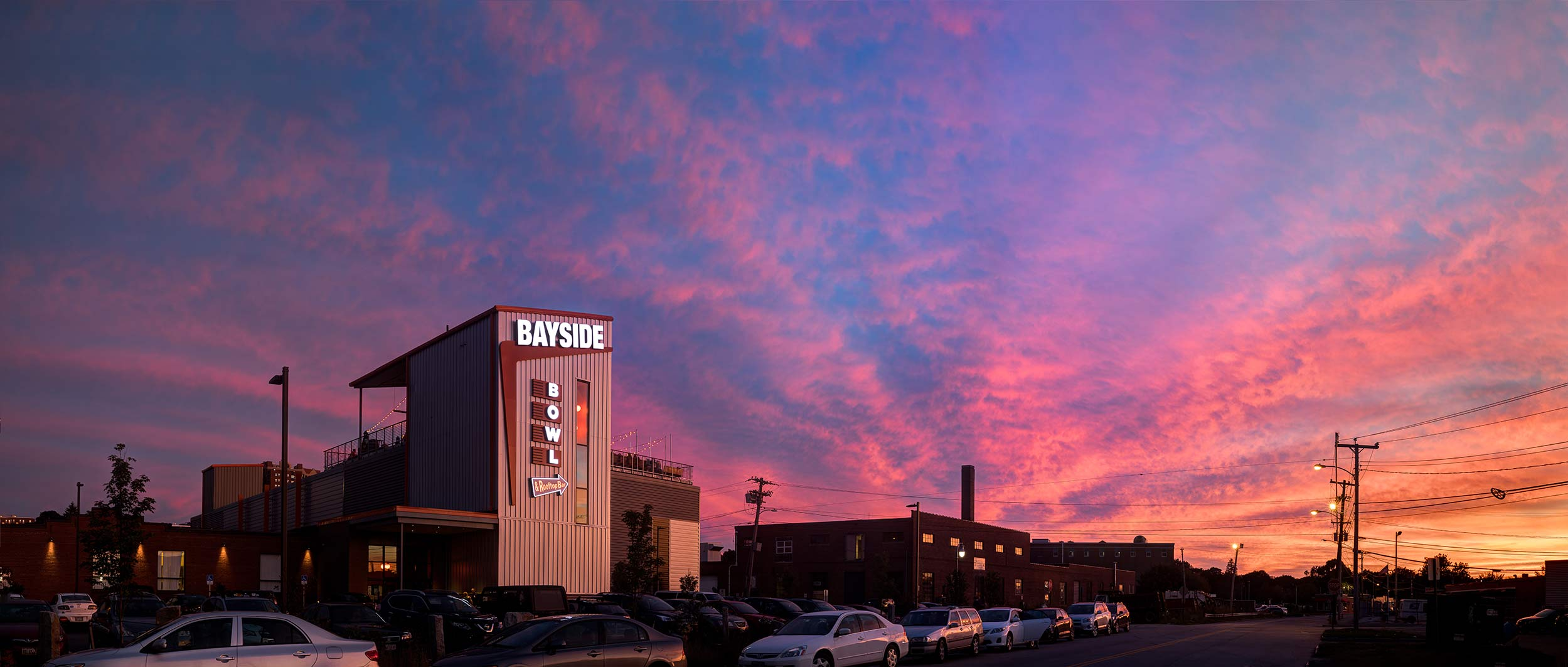 Beautiful sunset setting over the front of Bayside Bowl