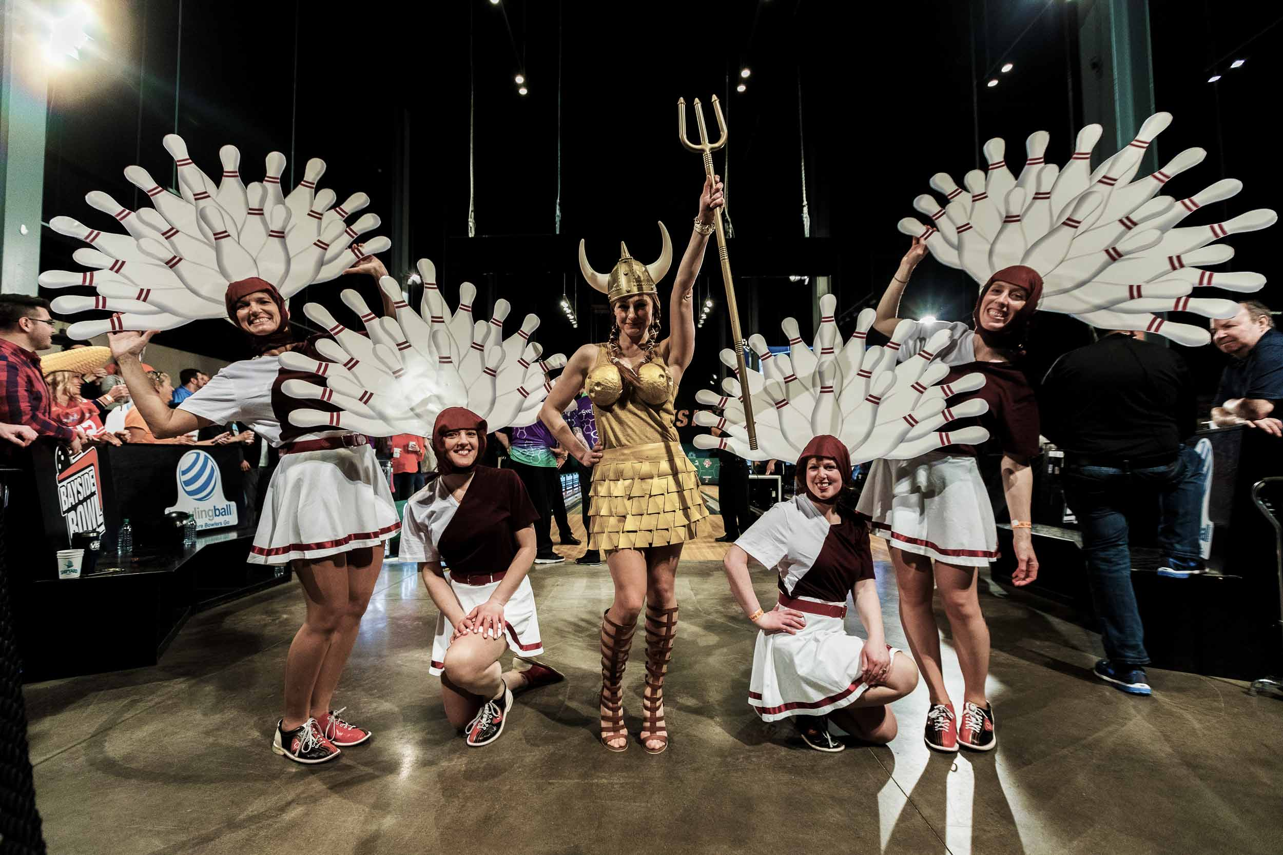 Five women dressed up like bowling pins from The Big Lebowski
