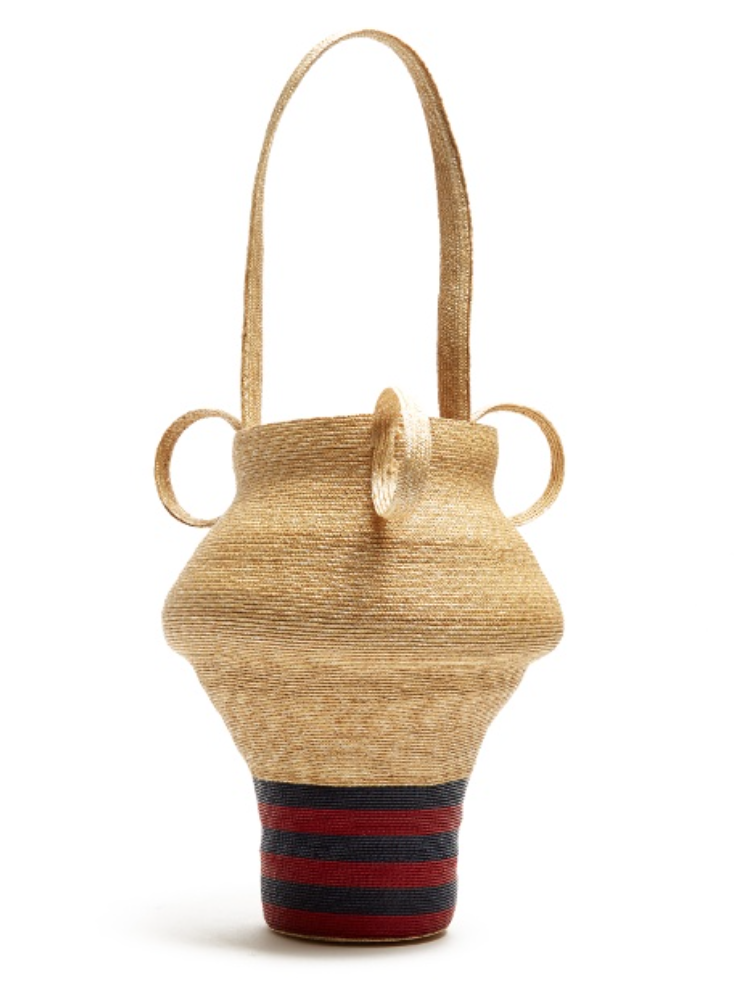 Striped Woven Straw Bag - Rosie Assoulin