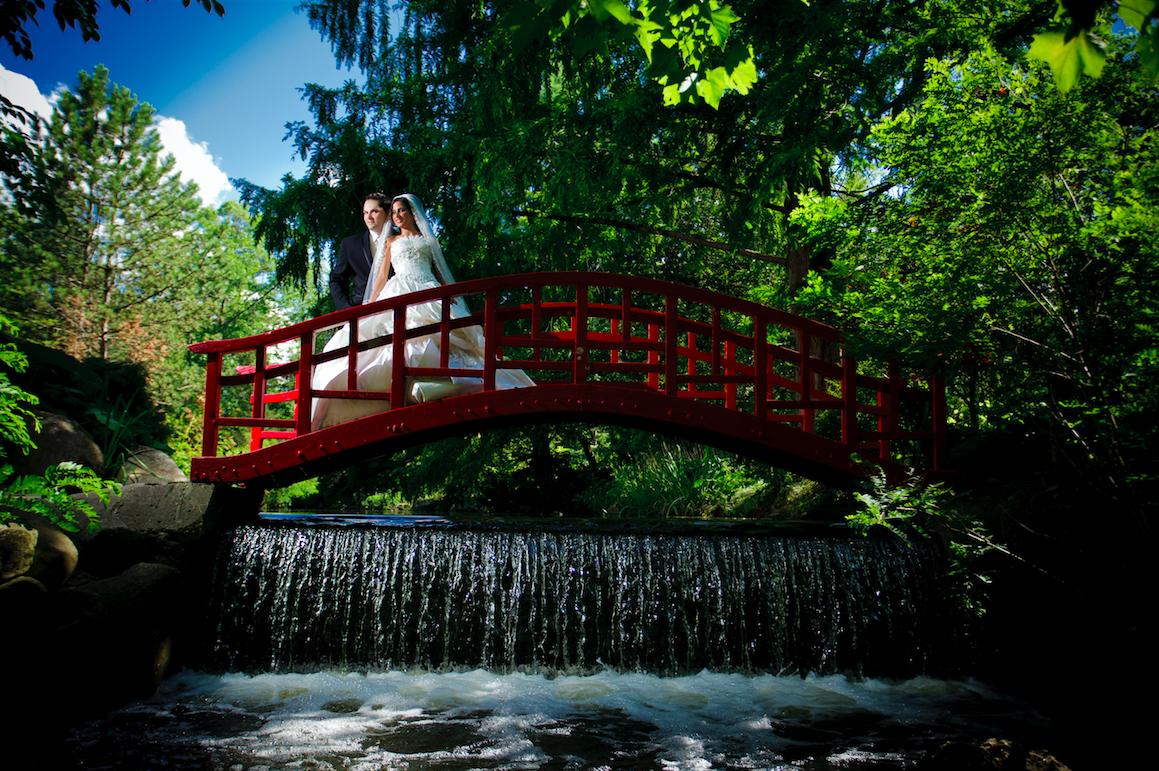 The famous red bridge at Cranbrook Gardens! Wilson Sr. jumps in the water to take this stunning image on a beautiful July day. Everything was perfect from the couple to the scenery. Definitely, one of our favorites!