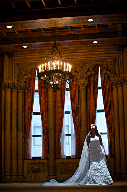 This image was shot at the Intercontinental Hotel in downtown Chicago. We love the drama in the room!