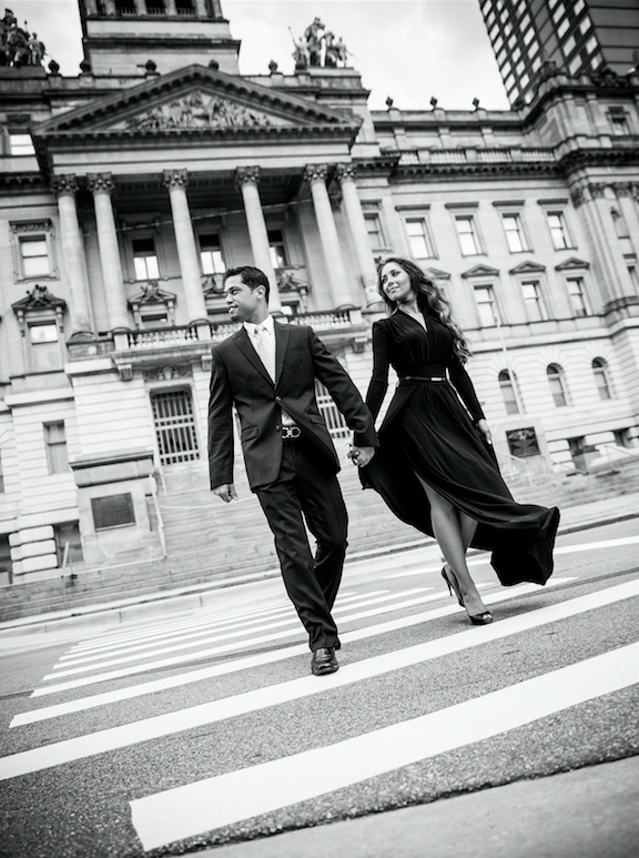 Black & white engagement photos will never go out of style! Urban flair and a classic couple is the perfect recipe for a beautiful image!
