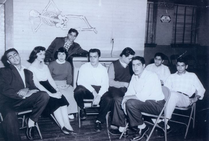 Youth Club from the 1950s. Left to right, Frank Thomas, Ruby Najor, Vickie Saroki, George Hakim, Joe Matti, George Najor, Bob Dickow, Alec Thomas, and Pete Acho.