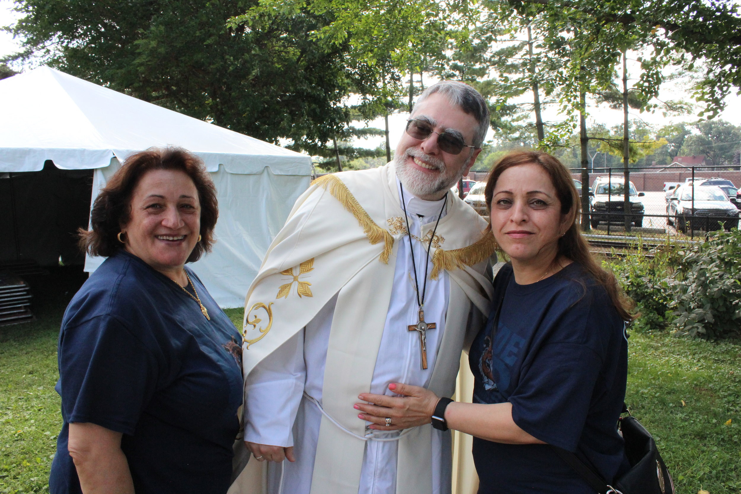 Reta and Soad Kakos with Bishop Francis