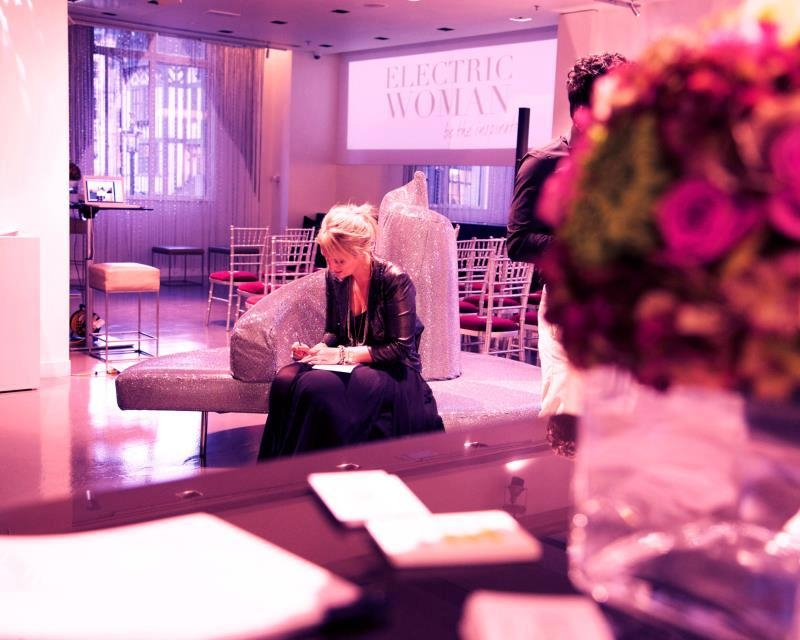 Nikki preparing her speech at the launch of Electric Woman at Swarovski's London HQ in 2012.