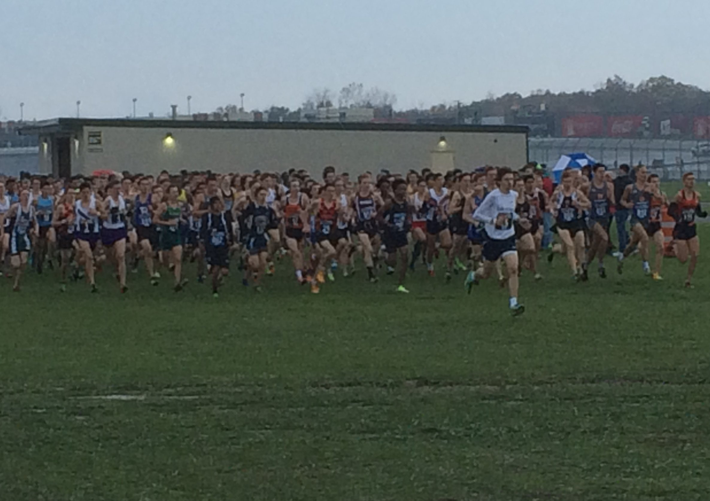 "Boys D1 ""stampede"" at 400 meter mark. Nick is among the leaders on the right side."