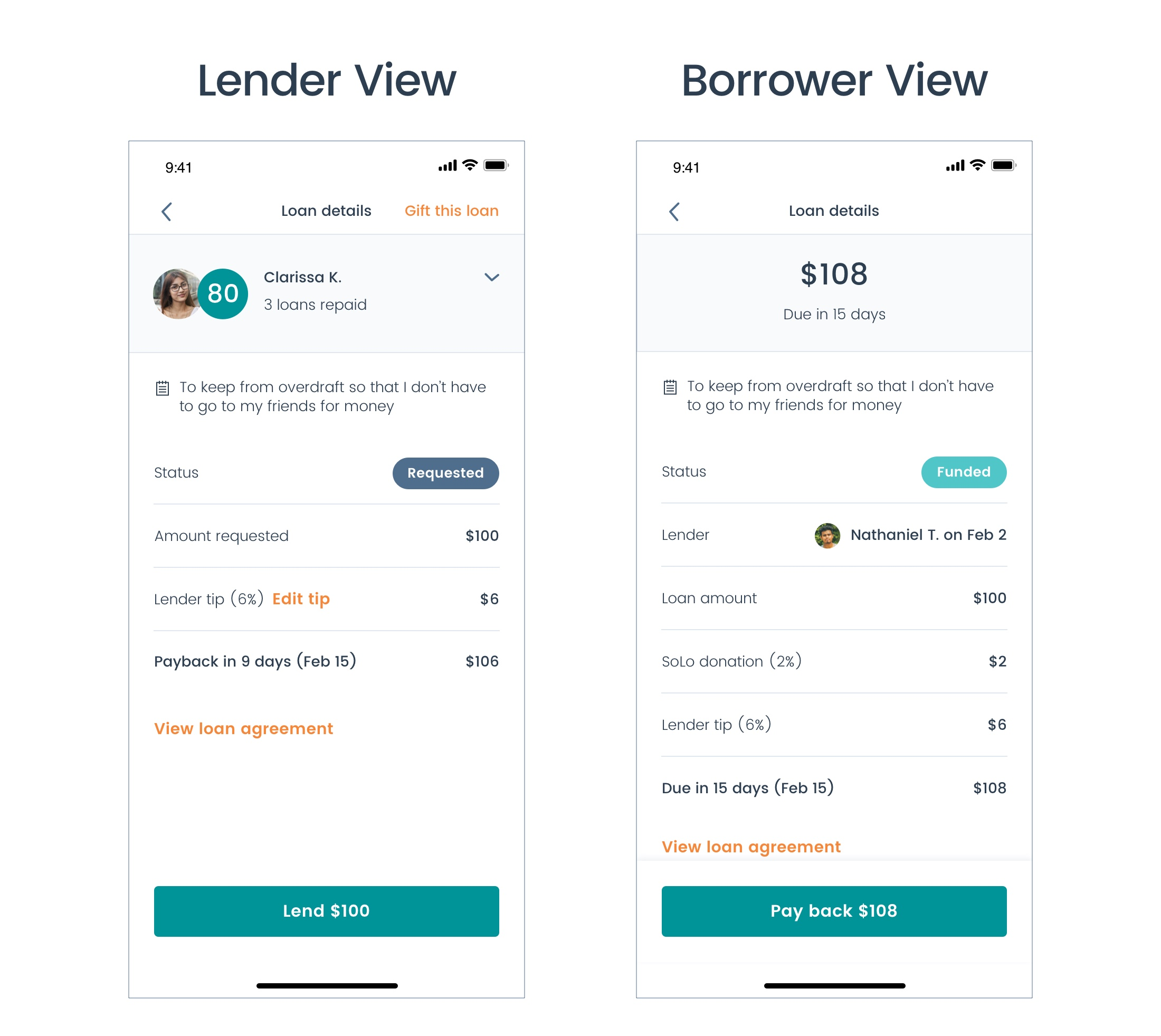 Final iteration after multiple rounds of user testing and internal review, which led to a slight reorganization of information on the page (moving the loan reason outside of the collapsible borrower details section at the top).