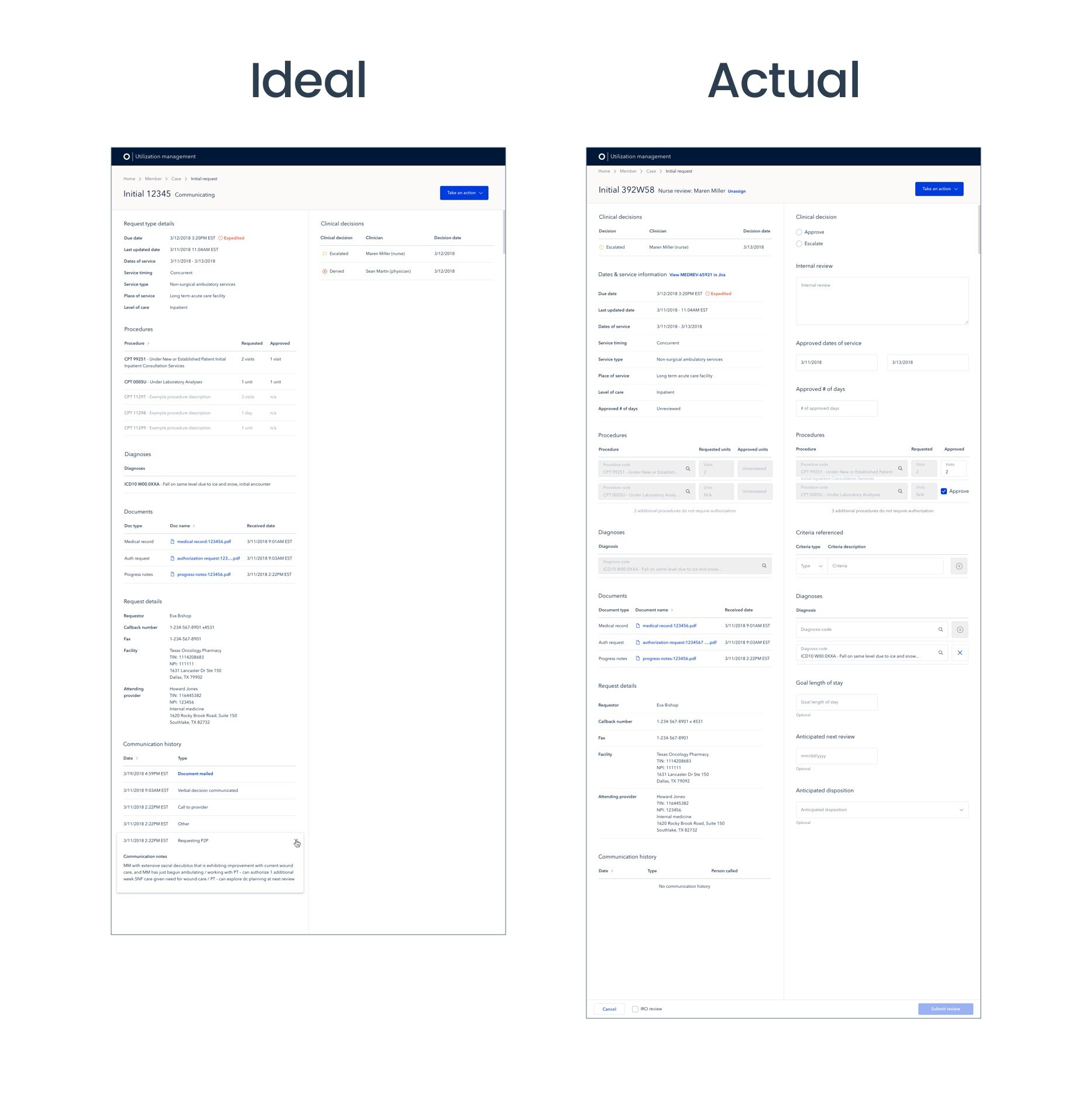The ideal read-only version of the Request page (left) as compared to the actual, easier to build version of the Request page (right). Given the limited engineering resources we had, we opted for the easier, quicker path in this scenario.