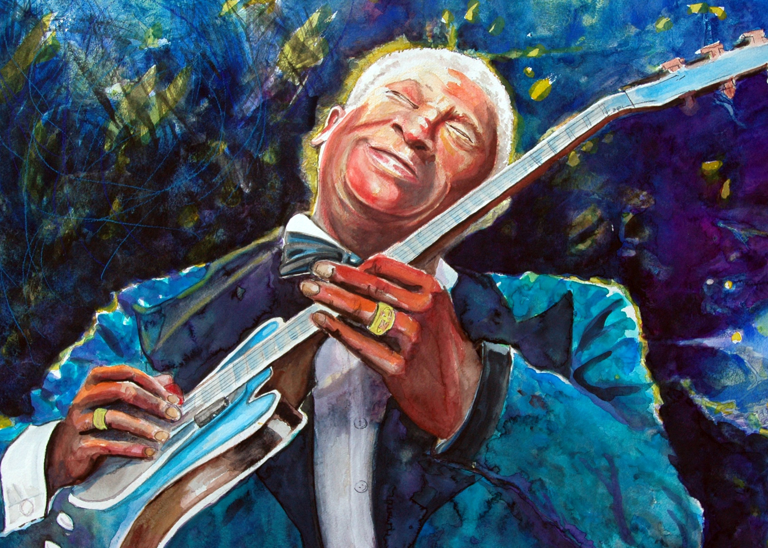 """""""B B King of the Blues"""" -Watercolor"""