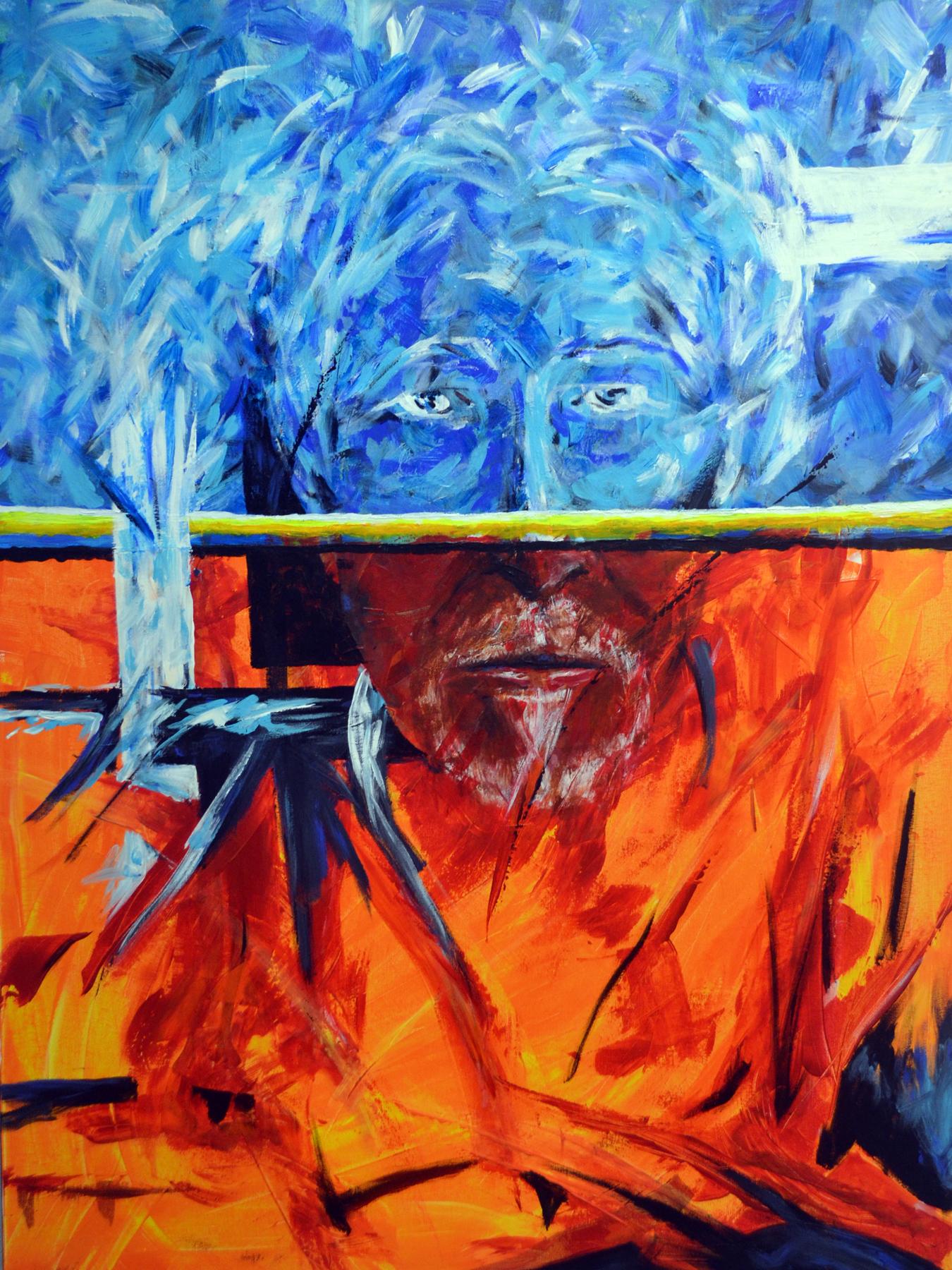 """SOLO YO 1-DEVINE MADNESS    Self Portrait in Acrylic on Canvas. 36"""" w x 48"""" h"""