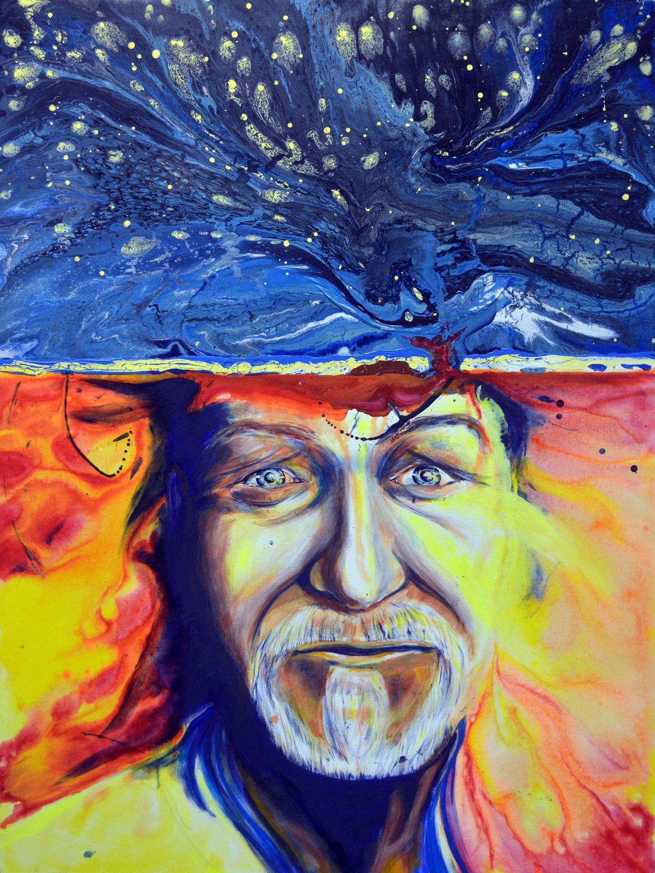 "SOLO YO 3-Swarm Intelligence   Self Portrait in Acrylic on Canvas. 36"" w x 48"" h"