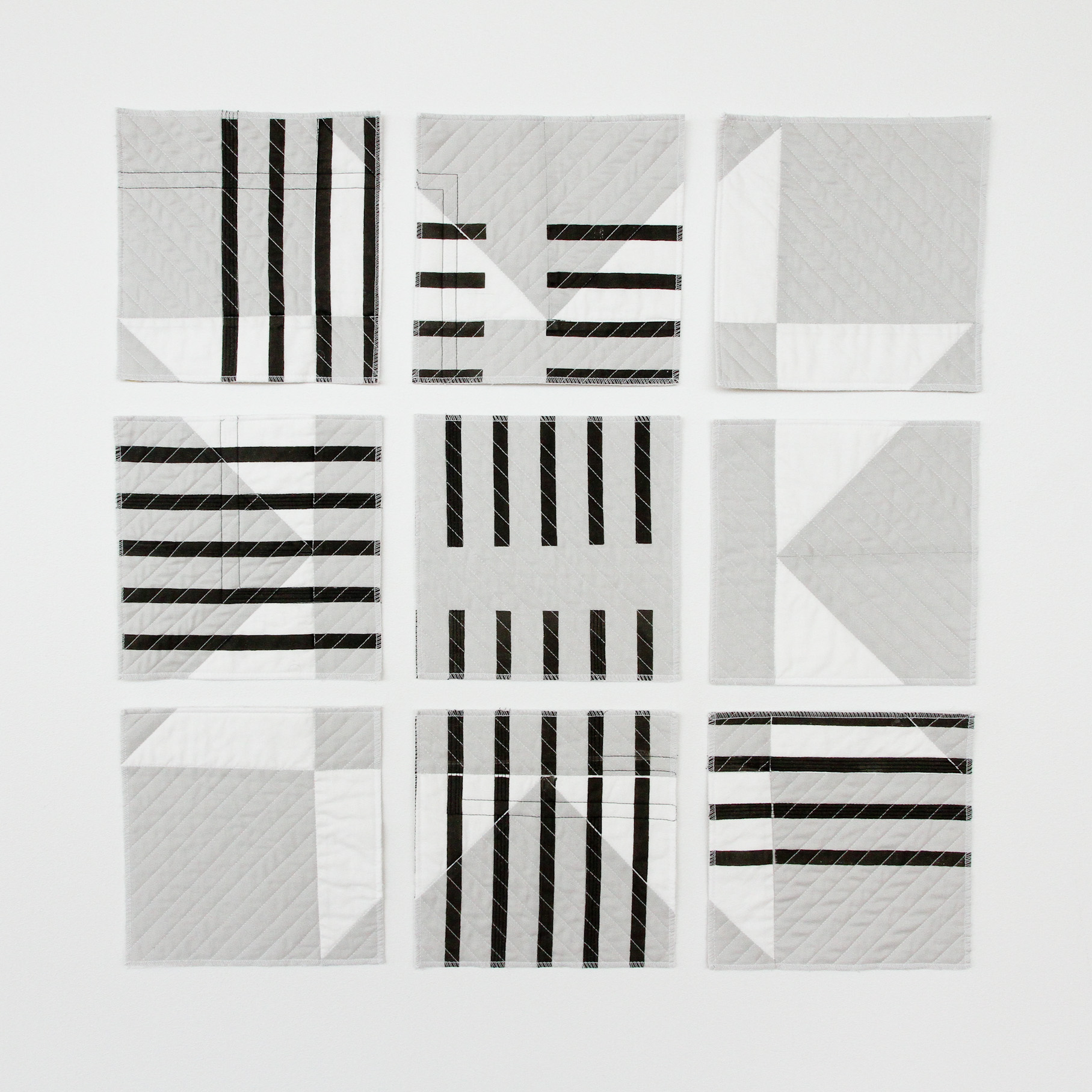 deconstructed and printed black and white modern quilt