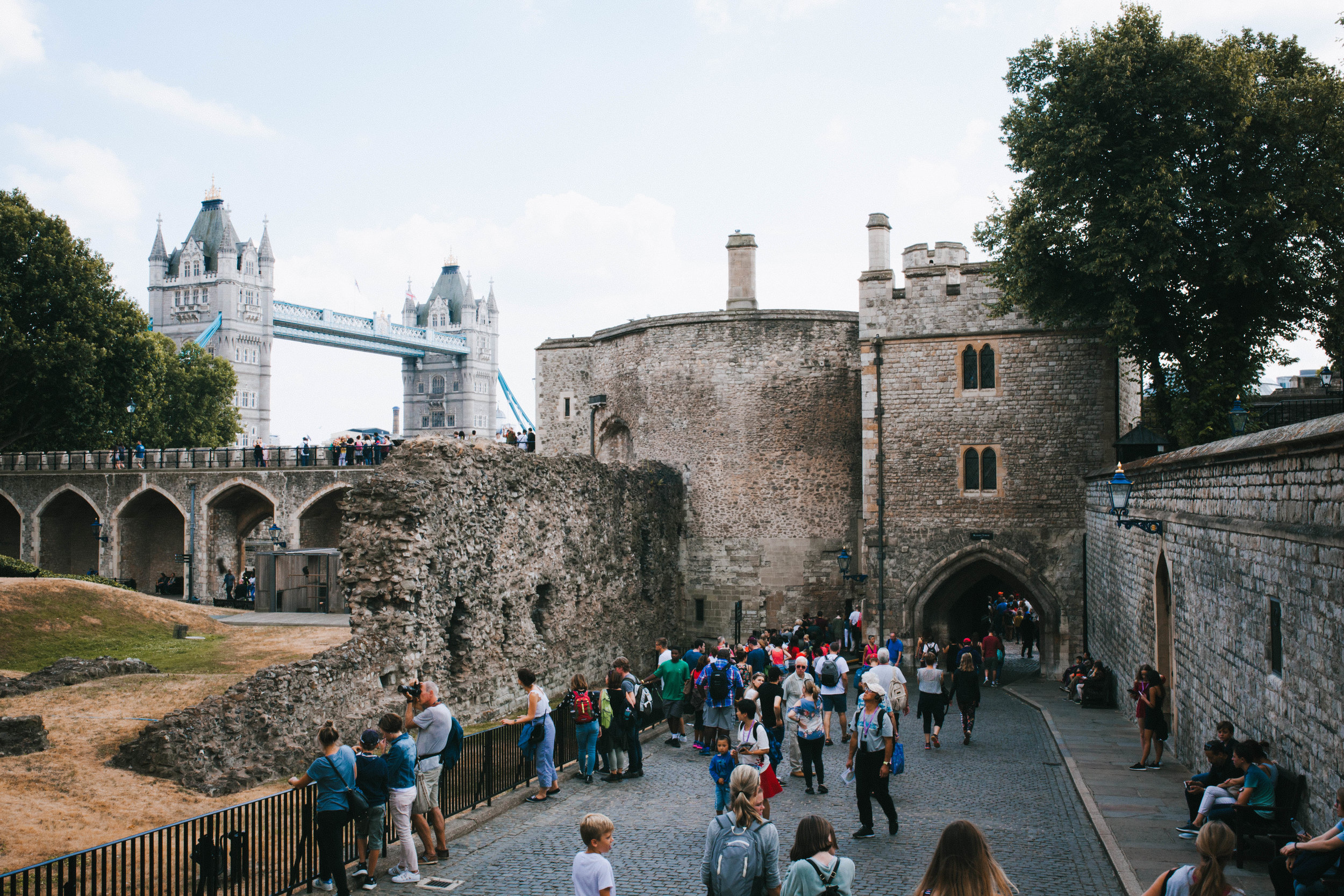View of Tower Bridge from inside the Tour grounds