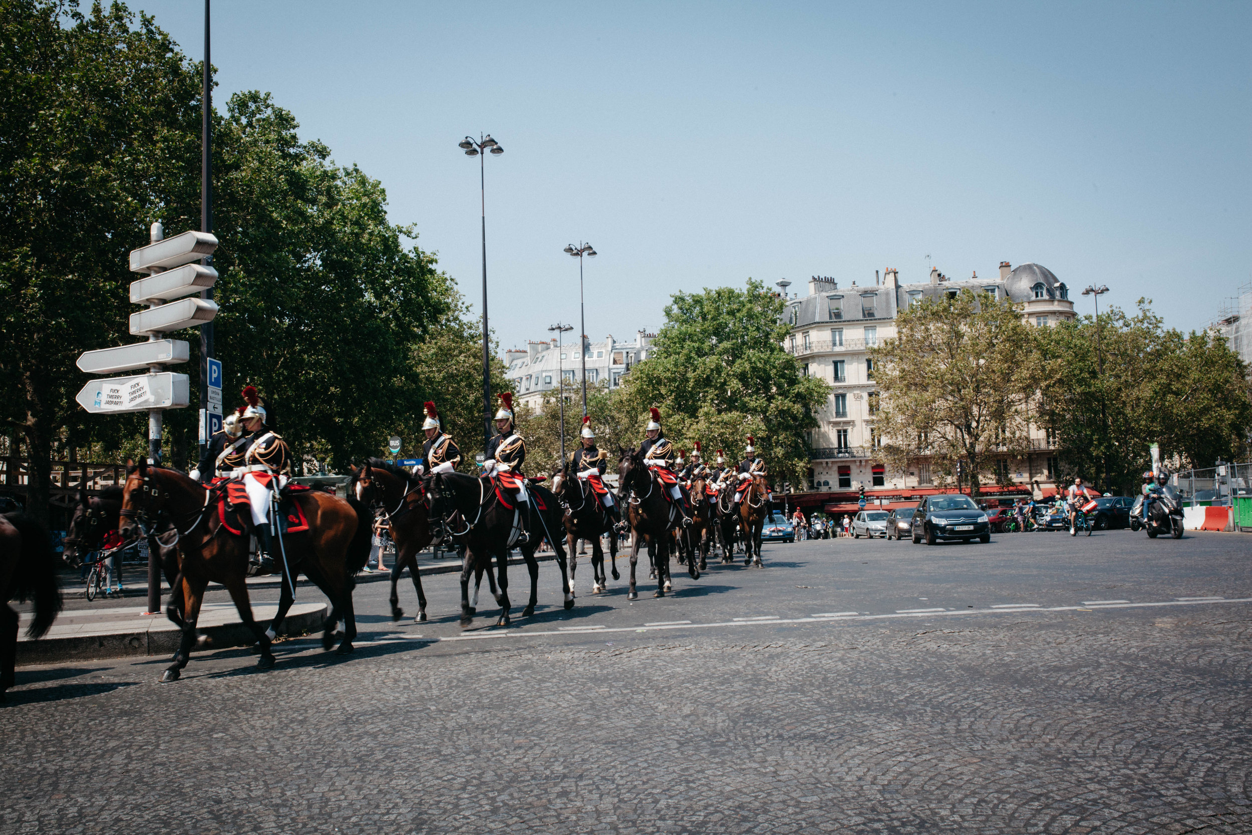 There was a parade that went through Place de la Bastille