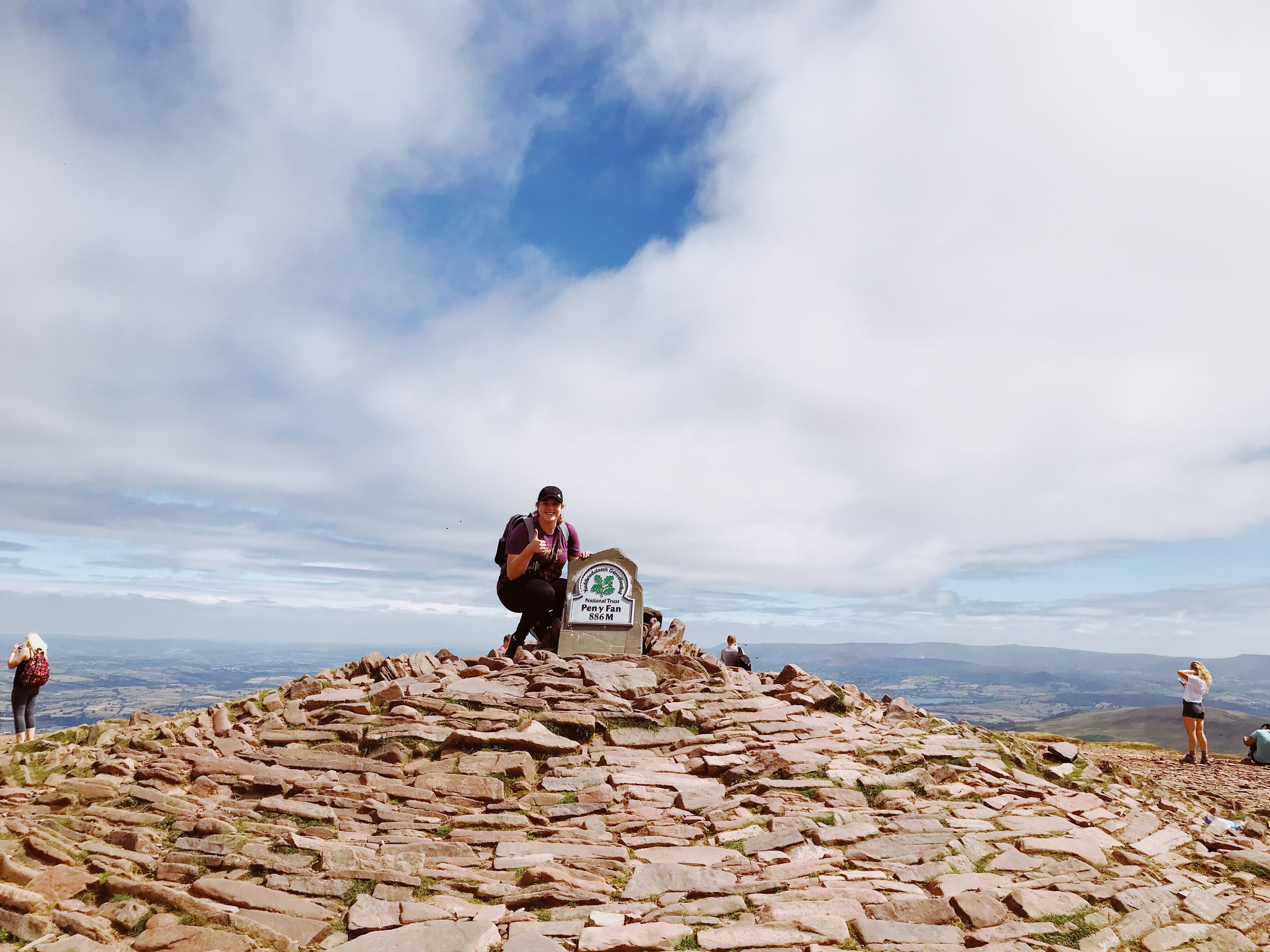 At the top of Pen y Fan at Brecon Beacons National Park in Wales