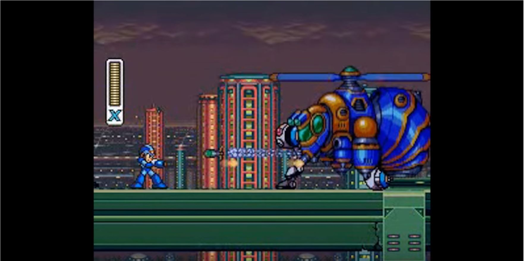 Trials... - As MegaMan combats mini bosses , the game designers have used a smaller, focused interaction with multiple game bosses in order to help the player realize and utilize the different mechanics available to them. A key feature of this instance is that the game designers are able to convey the solution to the interaction without the use of text or explicit means of communication. The pacing of the monsters's movements allow the player the opportunity to experiment and find the solutions themselves within a limited palette of available actions.Zero's interaction with Mega Man breaks from this dominant design model by communicating through text instead of action. Egoraptor argues that this dialogue breaks the mode of conveyance, but is warranted because Zero is used to express the theme of the game. This is close, but makes an exception for this scene in a way that may be unnecessary.I would argue that the reason Zero's introduction is not disjunctive to the rest of the game's experience is in fact because it solidifies a theme conveyed, but not explicitly stated, in the very first interactions the player has with Mega Man X.