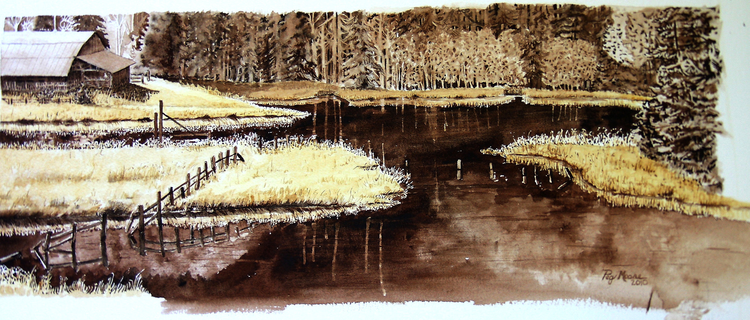Elsie's Pond  8x19 in Watercolor Private Collection
